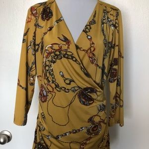 Carmen Gold Chain Print Fitted Blouse